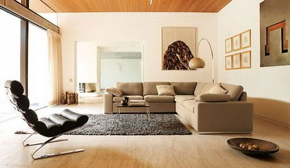 White Wall Decor and Brown Corner Sofa Furniture in Modern Living Room Interior Colors Decorating Designs Ideas