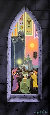 A large Eyvind Earle concept painting from Sleeping Beauty