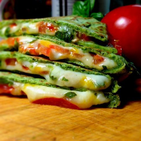 Margarita Pizza Quesadilla on Spinach Tortillas: Tortillas, tomato, grated mozzarella (or fresh buffalo mozzarella), chopped basil, S