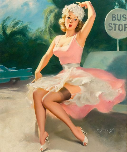Love the sweet, girly hue of her pink summer dress. #vintage #pinup #art