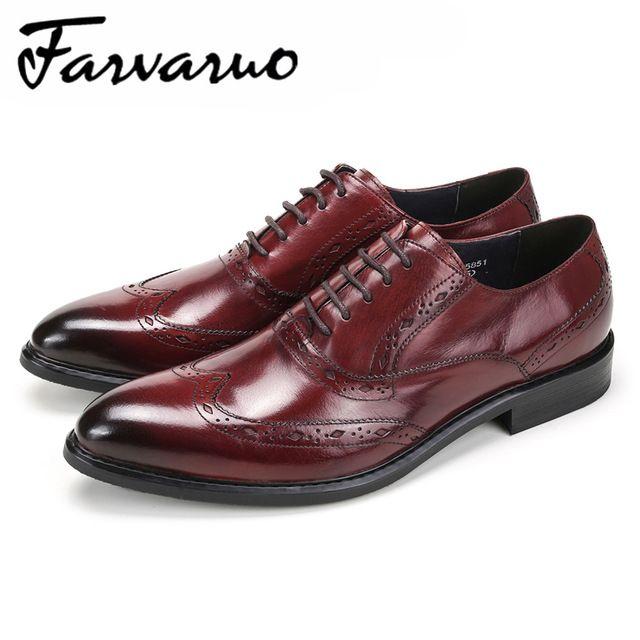 d0eb1c5c9bd2a0 120.49 |Farvarwo Hommes D'affaires Chaussures En Cuir Véritable Bout Pointu  Formelle Oxford Noir Marque De Luxe Robe Chaussures De Mariage Richelieu ...