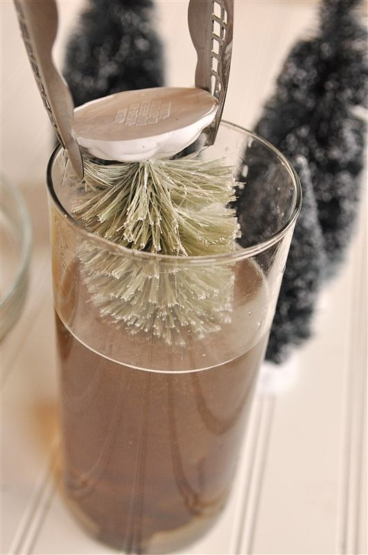 """Making """"New"""" Bottle Brush Trees look vintage...tying this to put around my advent candles this year!"""