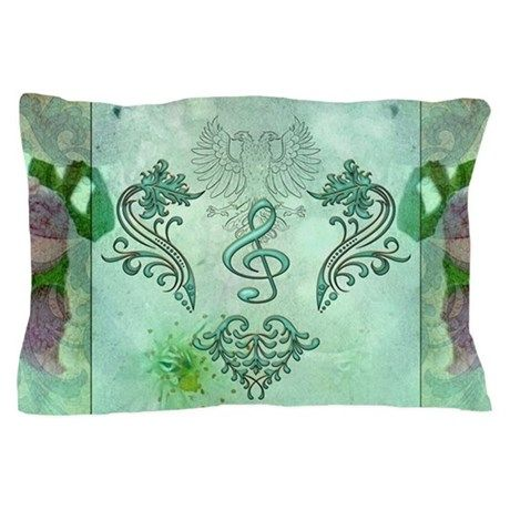 Music, decorative clef with floral elements Pillow on CafePress.com