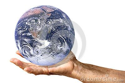 A hand is holding planet Earth, on white background