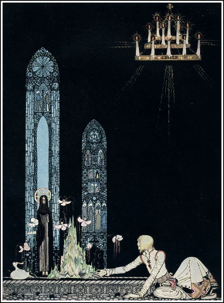 "Kay Nielsen for ""The Giant Who Had No Heart in His Body"" in 'East of the Sun and West of the Moon.' : ""'On that island stands a church; in that church is a well; in that well swims a duck.'"""