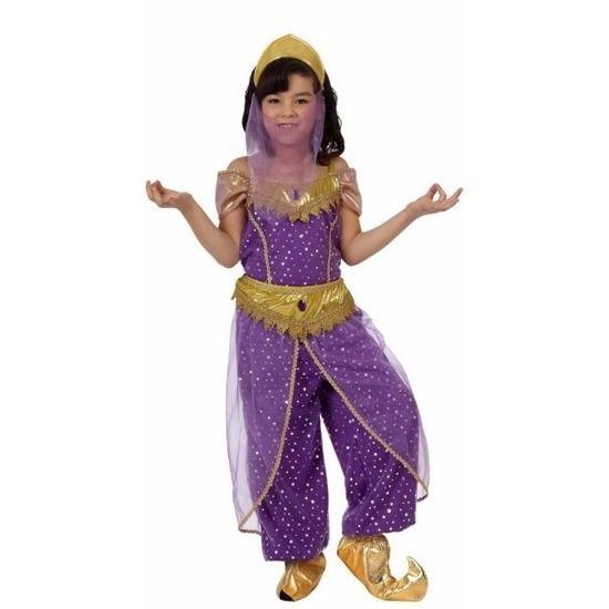 Paars Arabische prinses Hafida kostuum voor meisjes. Arabische prinses kostuum, bestaande uit: een paars/gouden top, paars/gouden broek met ceintuur en een hoofddeksel met sluier. Alle onderdelen zijn gemaakt van stof. Materiaal: 100% polyester.