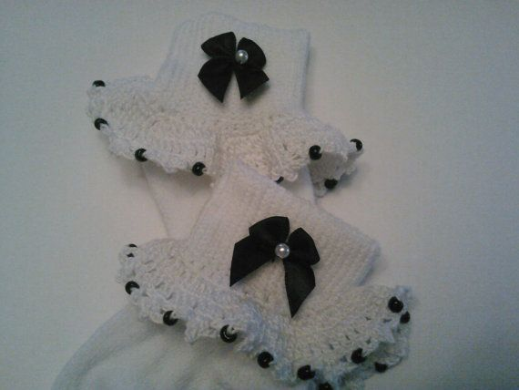Black and White Girl Fancy Crocheted Socks by Crocheted4Angels