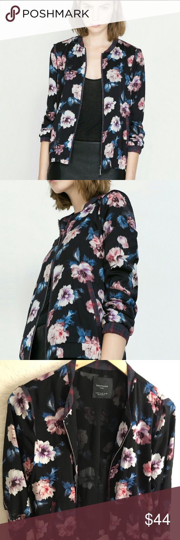 Zara Floral Jacket Floral jacket, Floral bomber jacket