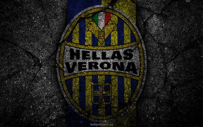 Descargar fondos de pantalla Hellas Verona, logotipo, del arte, de la Serie a, fútbol, club de fútbol, Verona FC, asfalto textura