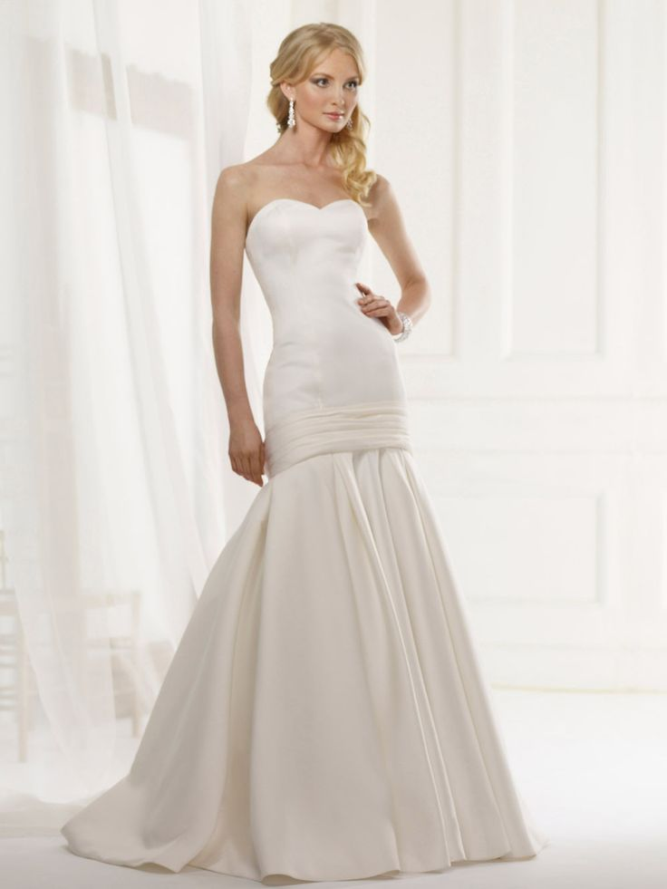 Kelsey Gown - drop waist matte-satin gown with sweetheart neckline.