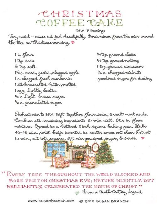 Christmas Coffee Cake this cake made and a copy of the recipe makes a great gift idea!