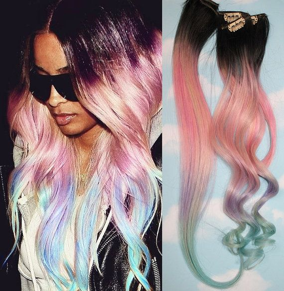 Light Pastel Dip Dyed Hair, Clip In Hair Extensions, Tie Dye Tips, Black Hair, Hair Wefts, Human Hair Extensions, Hippie hair, Pink Hair via Etsy