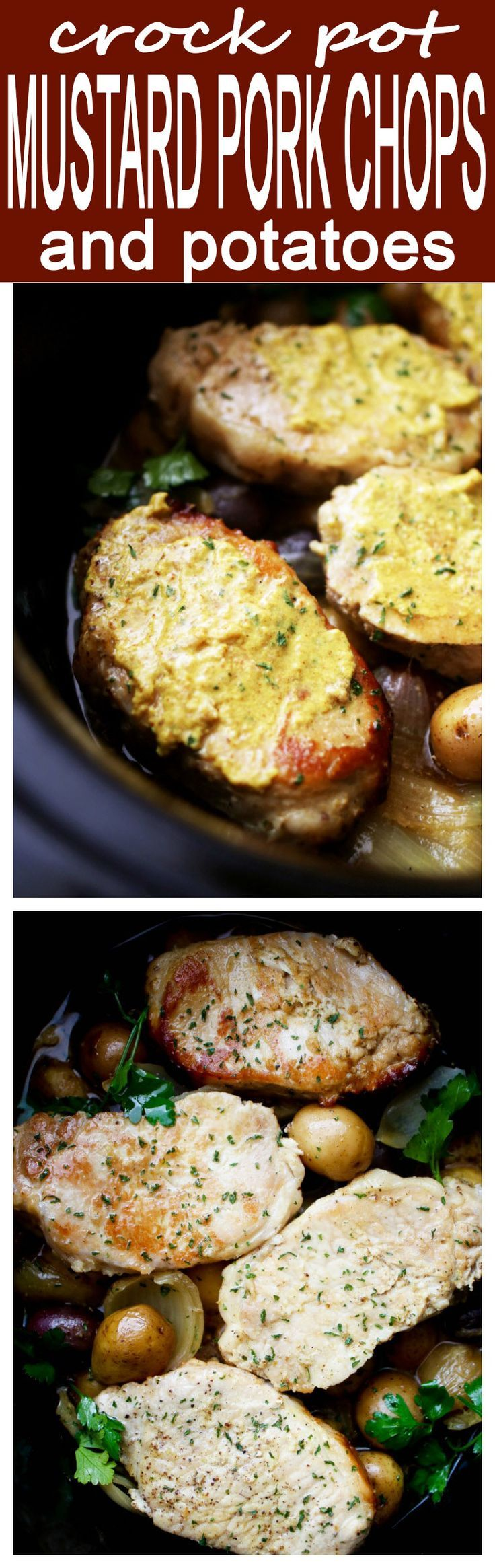 Crock Pot Mustard Pork Chops and Potatoes - Easy crock pot dinner with juicy pork chops and tender potatoes prepared in a delicious mustard sauce.