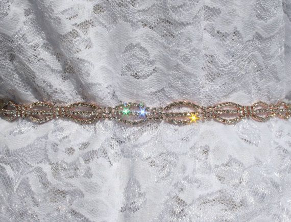 1 Yard Beautiful Rose Gold Rhinestone Cup Chain Trim for Wedding Sash, Bridal Belt, Dress Strap, a Cake ~Fast Ship from Houston WHOLESALER