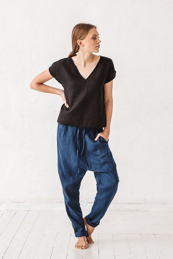 Harem-broek, linnen broek, vrouw broek, marineblauwe broek, broeken Eco vriendelijke, stenen gewassen linnen, Frans linnen, linnen kleding, Yoga broek