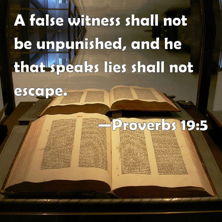 Proverbs 19:5 A false witness shall not be unpunished, and he that speaks lies shall not escape.
