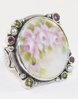 mars valentine forget me not victorian porcelain ring - Mars And Valentine
