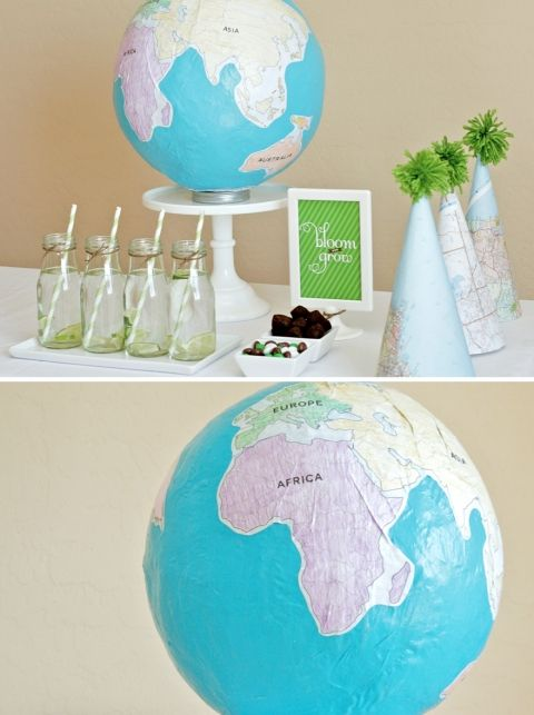 DIY Paper Mache Globe Project from PagingSupermom.com #earthday