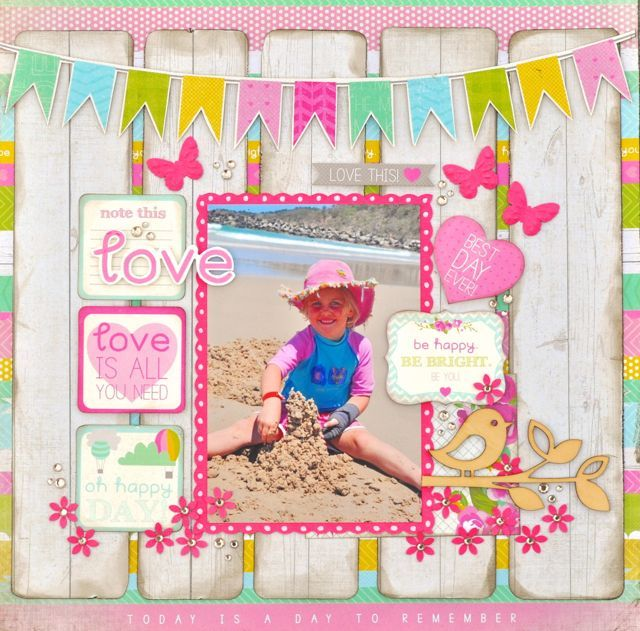 A fun Summer layout made using the Confetti Collection from Kaisercraft.