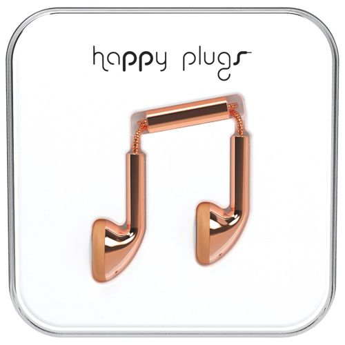 Happy Plugs Deluxe Edition In-Ear Headphones with Mic - Rose Gold
