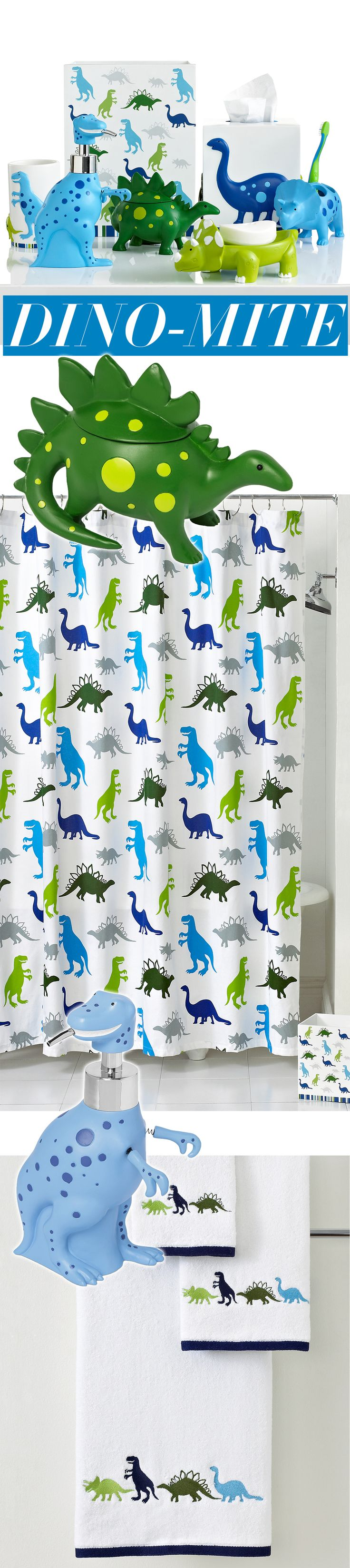 Now that's a dino-mite bathroom!  Embrace your kids' dinosaur obsession with towels, shower curtains and accessory featuring all their favorite dinos.