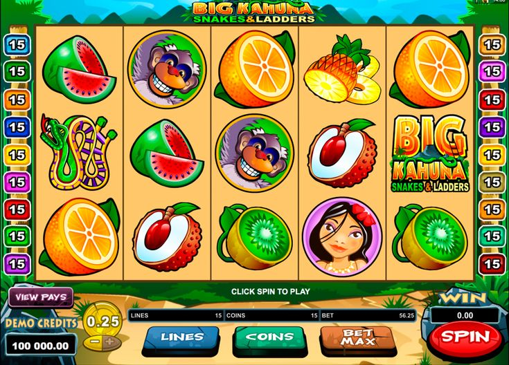 """Big Kahuna Snakes and Ladders takes all the best from the original Big Kahuna and doubles it! 5 reels with 9 paylines, new symbols,including young man and woman, golden mask, snake and """"Big Kahuna Snakes and Ladders"""" title, amazing bonus features, beautiful background and music- this game has it all! Microgaming made another amazing online slot for all gamblers!"""