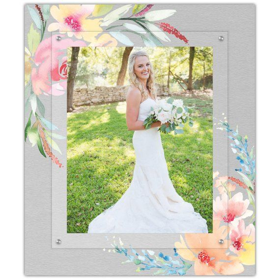 Watercolor Flower Wedding Picture Frame 11x14 Portrait Frame Modern Floating Gallery W With Images Wedding Picture Frames Watercolor Flower Wedding Gallery Wall Frames
