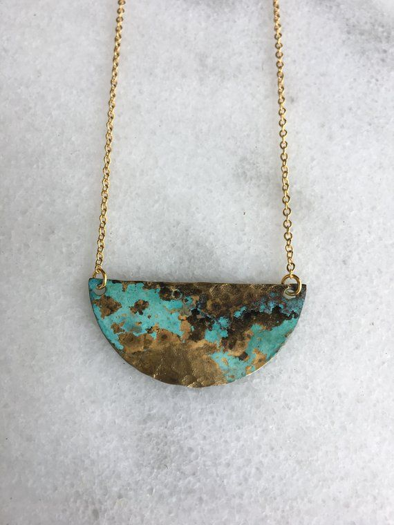 6adbd32b08f Half moon patina copper layering necklace | jewelry making | Copper ...