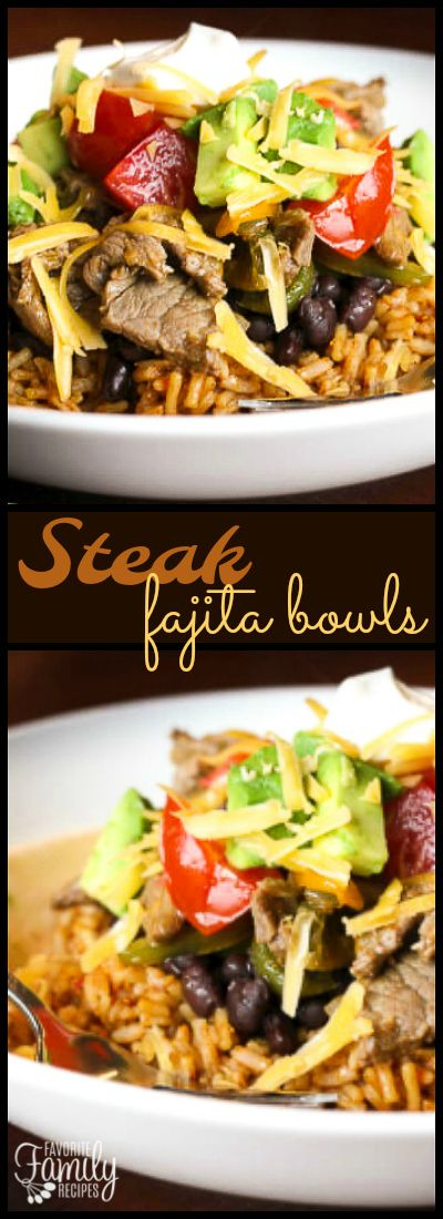 These Steak Fajita Bowls are like a fajita but in a tasty rice bowl. A perfect dinner made of tender steak and sautéed veggies over a bed of Spanish rice. via @favfamilyrecipz