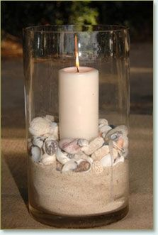 cute idea..Use lg. vase. Place color of sand you prefer in bottom. Then a layer of small colored sea shells. Last place candle in center of shells and push down lightly into sand. Great center piece.