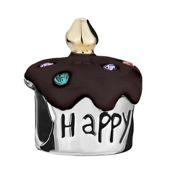 "Birthday Cake ""Happy B Day"" Colorful Crystal Dark Red Drip Gum European Beads Gift Pandora Chamilia Compatible | Charmsstory.com #birthday #charms #pandora #sterlingsilver #beads #cake #happyb-day"