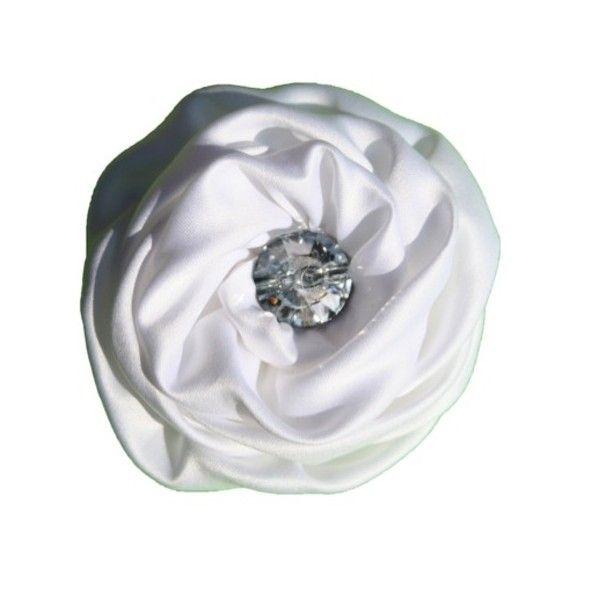 سوف تكون زهرة الساتان الوردية البيضاء على المشبك هذه بمثابة اكسسوار مثالي لتلك المناسبة الخاصة ابنتك المدللة سوف تحب ا Swarovski Elements White Roses Crystals