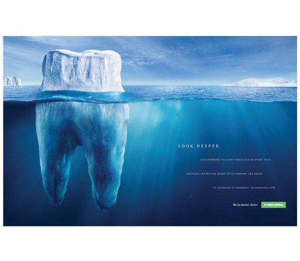 I like the way this tooth has been made to look strong by creating it out of an iceberg, i had the idea to do similar with the texture of a mountain. This is more research for the online brief contest.