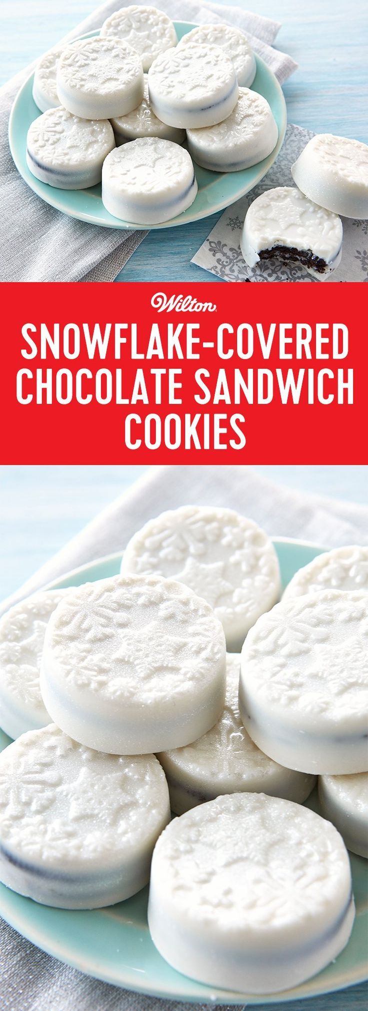 Snowflake Covered Chocolate Sandwich Cookies - What's sweeter than seeing the first snowfall of the season? These sparkling candy-coated treats with embossed snowflakes made with Candy Melts® candy and store-bought chocolate sandwich cookies. A touch of edible silver glitter spray was added to make them glisten just like a fresh blanket of holiday snow. Makes 12 cookies. #christmascookies #snowflakes #wiltoncakes