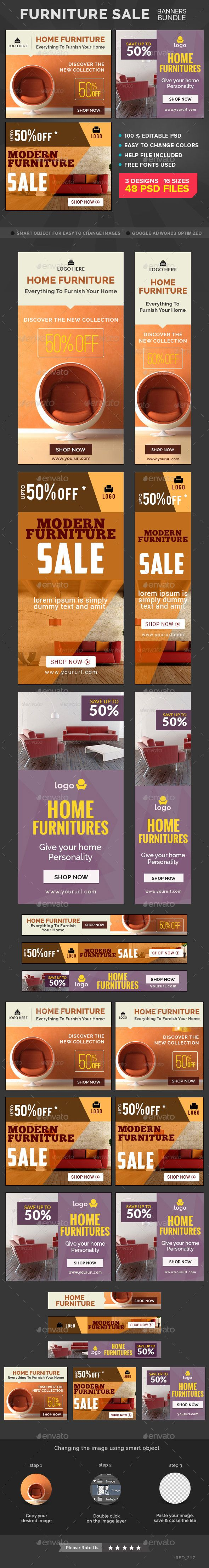 Furniture Sale Banners Bundle - 3 Sets #design Download: http://graphicriver.net/item/furniture-sale-banners-bundle-3-sets/11546086?ref=ksioks
