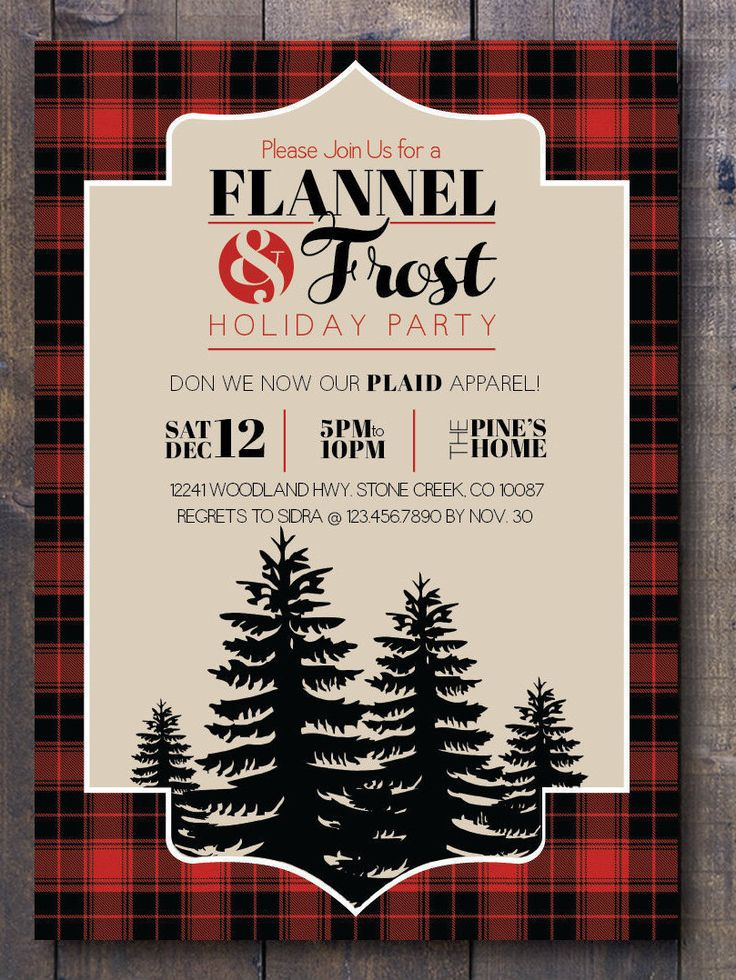 Flannel & Frost Holiday Party Printable Invitation - Buffalo Plaid by HillandHoney on Etsy https://www.etsy.com/listing/476695490/flannel-frost-holiday-party-printable