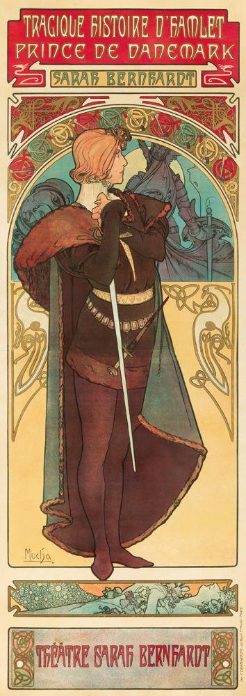 Alphonse Mucha, Sarah Bernhardt as Hamlet | Graphic Design ...