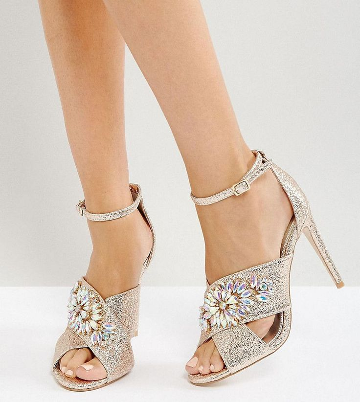 ASOS HOLY GRAIL Wide Fit Embellished Heeled Sandals - Beige