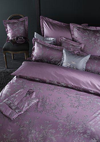 CURT BAUER Luxuriöse Mako-Brokat-Damast-Bettwäsche Natur 155x220 cm + 080x080 cm Komfortgröße, Farbe beere