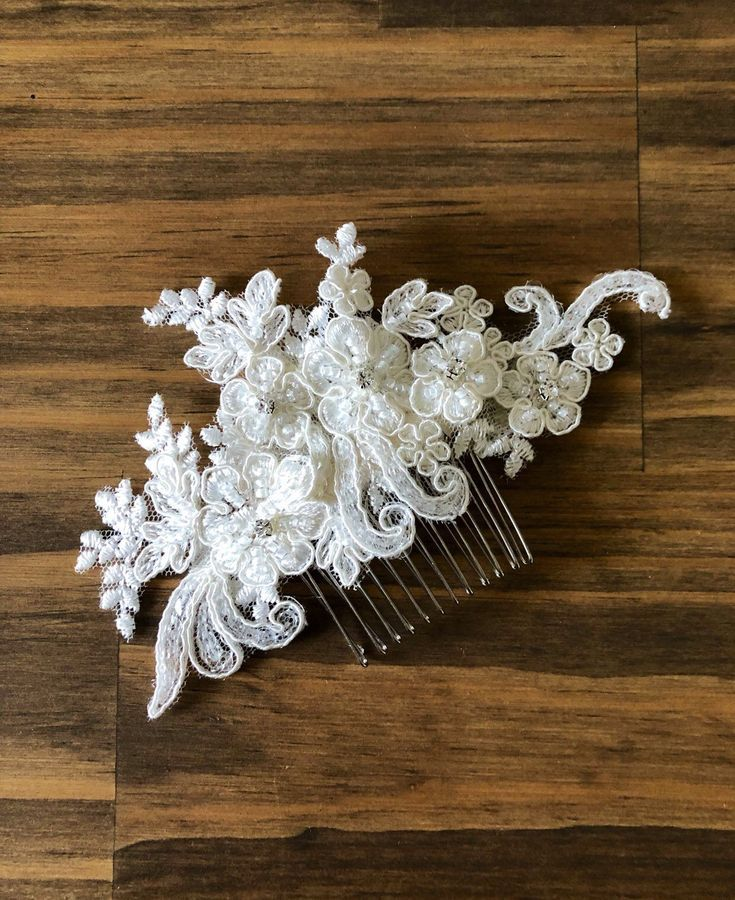 Bridal Hand beaded Lace comb