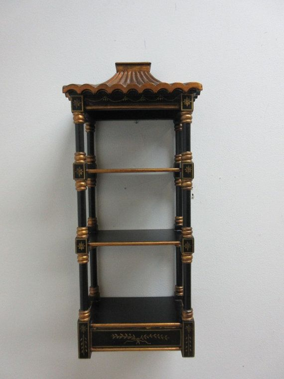 Vintage Chinoiserie Asian Painted Hanging Wall Shelf Curio