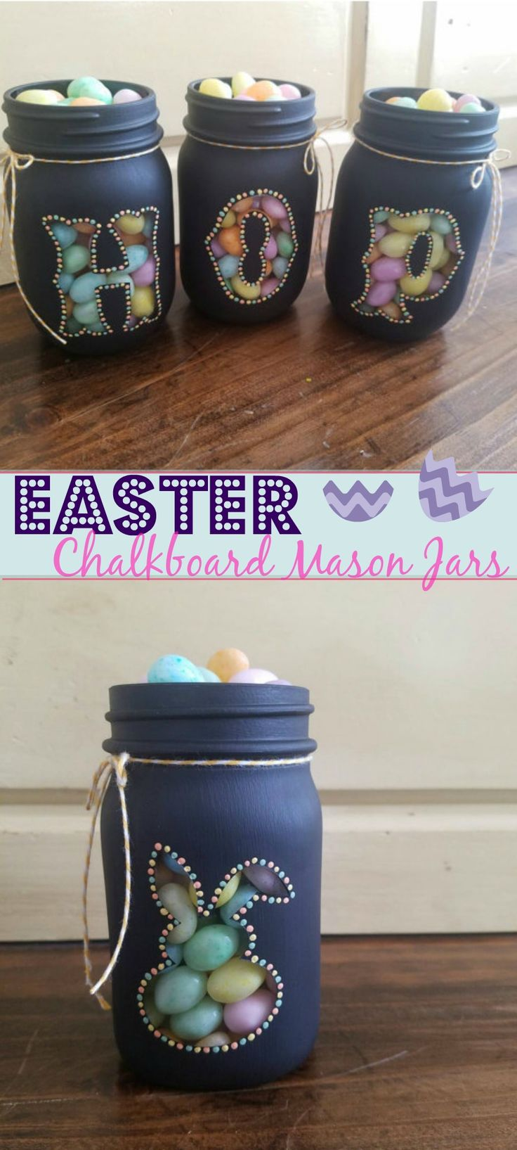 Cute Easter and Spring Chalkboard Mason Jars ... Excited that spring is almost here! ...#afflink #springdecor #easterdecor #masonjar #masonjarcrafts #easter #spring