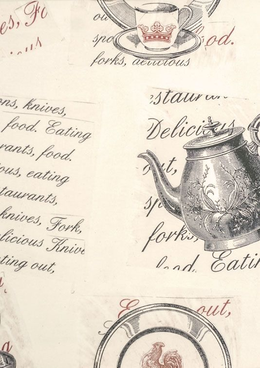Earl Grey Wallpaper Large design wallpaper of Teapots and written design.