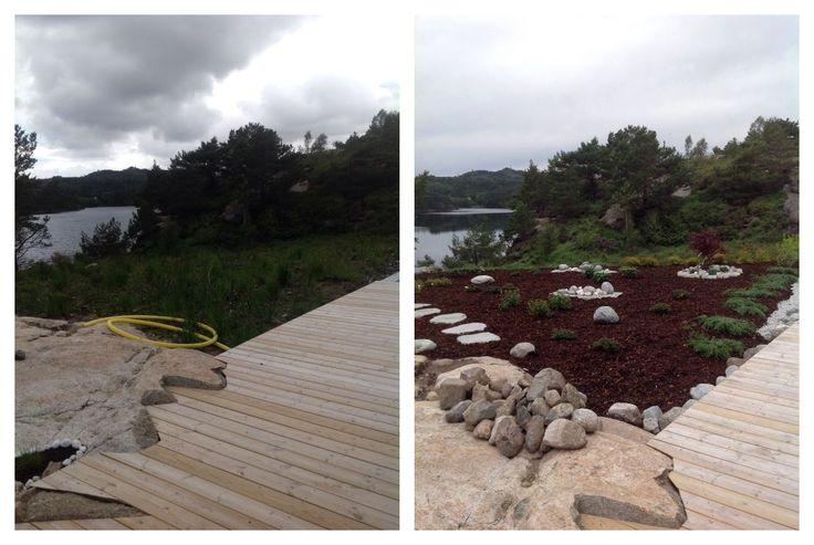 Før og etter forbedring av myrjord og #beplantning av #uteområde.
