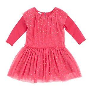 Hootkid Falling Heart Dress - Hot Pink Tulle