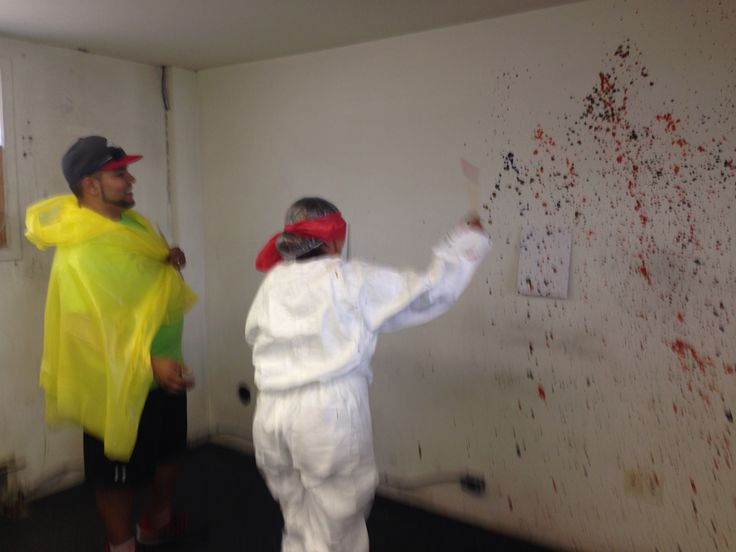 New Westminsters version of the amazing race June 2014. Teams stopped in to do our challenge. They had to paint a painting or work as a team to splatter five colours of paint on a small canvas while one person was blindfolded. It was a hoot!
