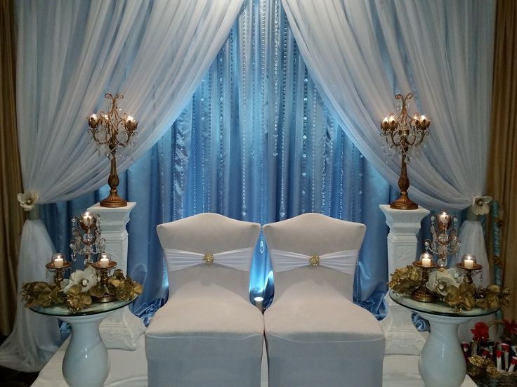 Bride And Groom Stage Baby Blue Satin And Sheer White