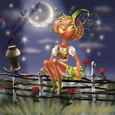 Pumpkin - Illustration store PicsForDesign.com. PSP tubes, PSD illustrations, Vector illustrations. Сlipart. Halloween. Cartoon character