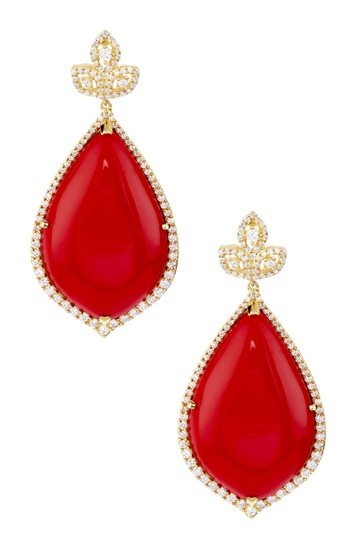 Red Agate & CZ Halo Dome Leaf Earrings by Adam Marc $263 was 868.00 retail! Gorgeous!!!