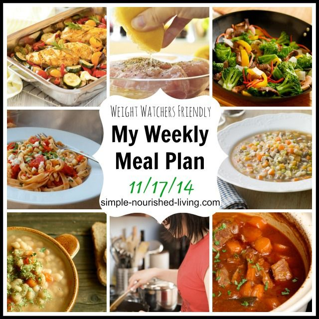 My healthy Weight Watchers Meal Plan with Recipes and Points Plus 11/17/14 http://simple-nourished-living.com/2014/11/healthy-weekly-meals-plan-weight-watchers-points-plus/